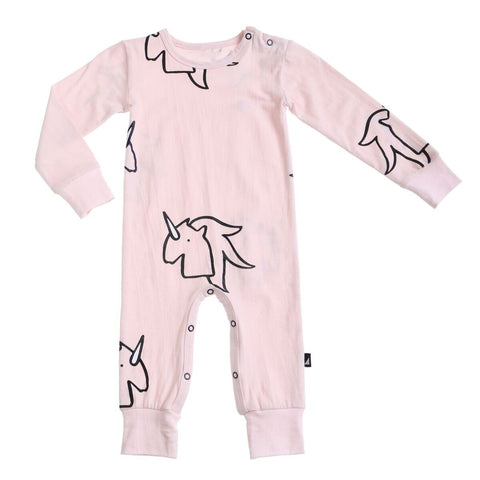 Organic Unicorn Long sleeves Romper (Pink)