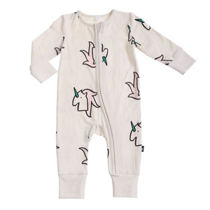 UNICORN AOP LS ZIP ROMPER