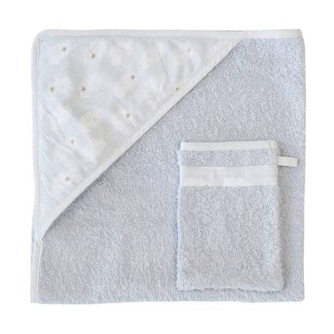 Hooded towel + washcloth Clouds