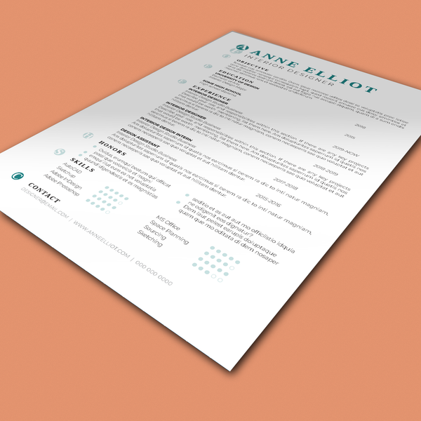 Anne Elliot - CV/Resume + Letterhead Templates - InDesign - A4 and US Letter - [product_description] - Audrey Noakes Shop