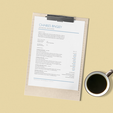 Charles Bingley - CV/Resume + Letterhead Templates - InDesign - A4 and US Letter - [product_description] - Audrey Noakes Shop
