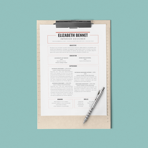 Elizabeth Bennet - CV/Resume + Letterhead Templates - InDesign - A4 and US Letter - [product_description] - Audrey Noakes Shop
