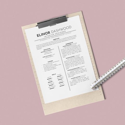 Elinor Dashwood - CV/Resume + Letterhead Templates - InDesign - A4 and US Letter - [product_description] - Audrey Noakes Shop