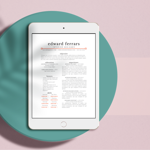 Edward Ferrars - CV/Resume + Letterhead Templates - InDesign - A4 and US Letter - [product_description] - Audrey Noakes Shop