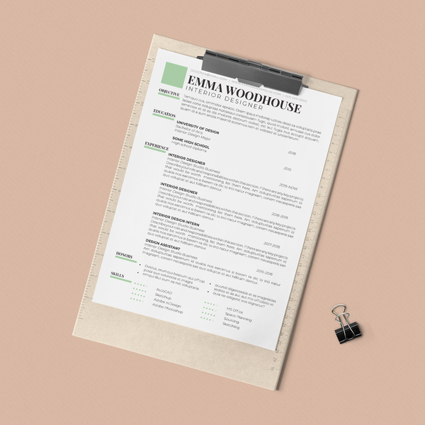 Emma Woodhouse - CV/Resume + Letterhead Templates - InDesign - A4 and US Letter - [product_description] - Audrey Noakes Shop
