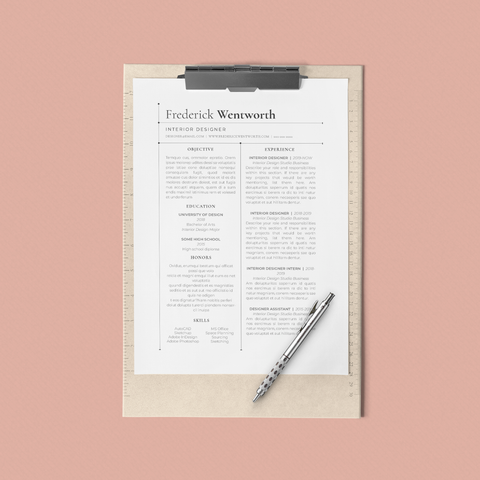 Frederick Wentworth - CV/Resume + Letterhead Templates - InDesign - A4 and US Letter - [product_description] - Audrey Noakes Shop