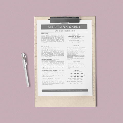 Georgiana Darcy - CV/Resume + Letterhead Templates - InDesign - A4 and US Letter - [product_description] - Audrey Noakes Shop