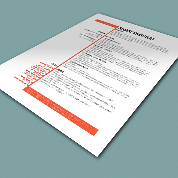 George Knightley - CV/Resume + Letterhead Templates - InDesign - A4 and US Letter - [product_description] - Audrey Noakes Shop