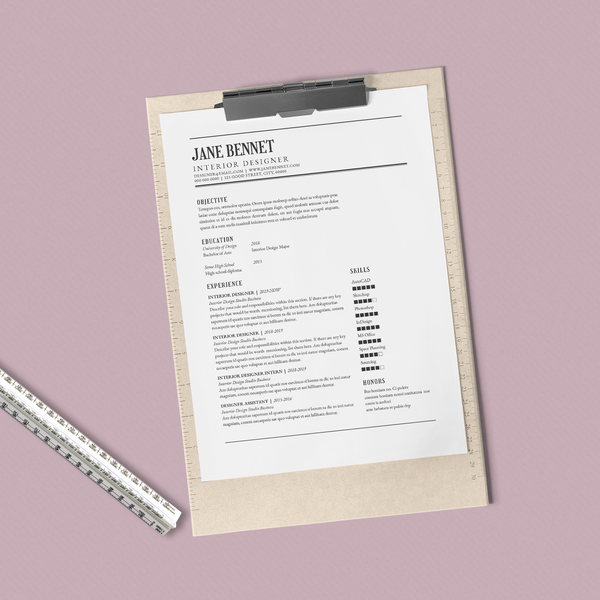 Jane Bennet - CV/Resume + Letterhead Templates - InDesign - A4 and US Letter - [product_description] - Audrey Noakes Shop
