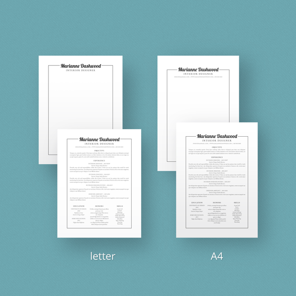 Marianne Dashwood - CV/Resume + Letterhead Templates - InDesign - A4 and US Letter - [product_description] - Audrey Noakes Shop
