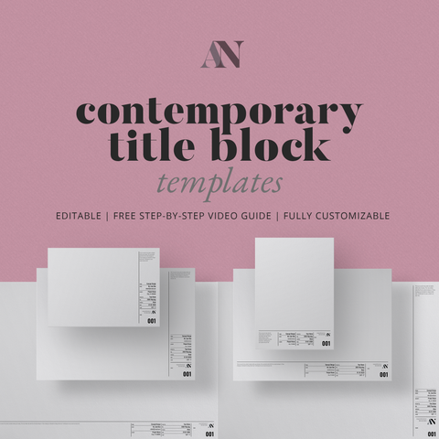 Contemporary Title Block Templates - A2 / A3 / A4 + 8.5x11 / 11x17 / 24x36 Sizes - [product_description] - Audrey Noakes Shop