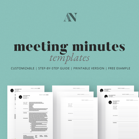 Meeting Minutes Templates Kit - [product_description] - Audrey Noakes Shop