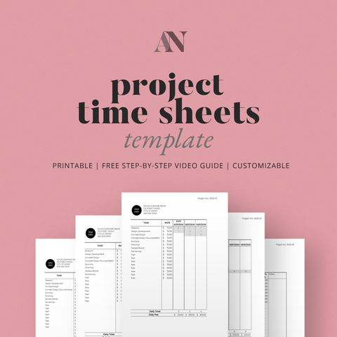 Project Time Sheets Template - [product_description] - Audrey Noakes Shop