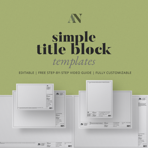 Simple Title Block Templates - A2 / A3 / A4 + 8.5x11 / 11x17 / 24x36 Sizes - [product_description] - Audrey Noakes Shop