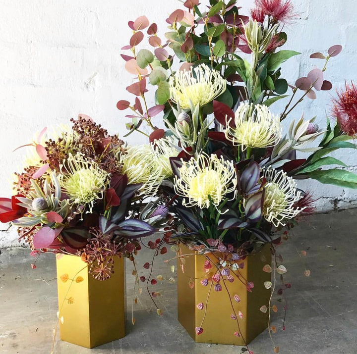 Matching Floral Design - Gold Vases