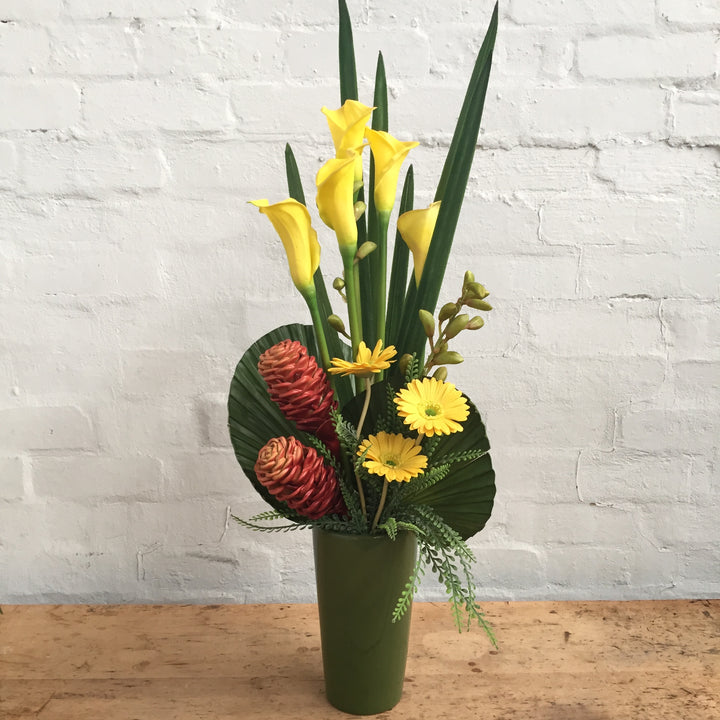Yellow Florals in Green Ceramic