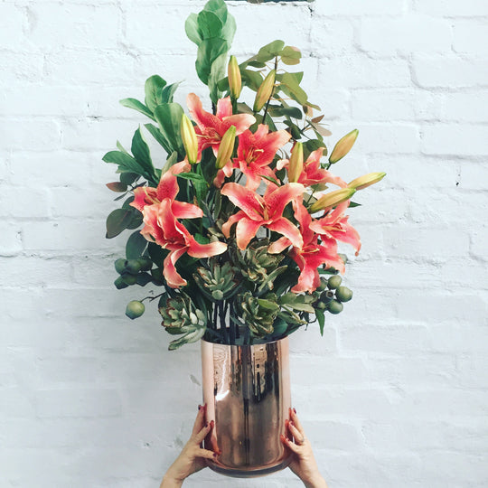 Extra Large Floral - Gold Container