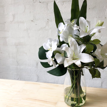 Artificial - White Orchid & Lily in Glass