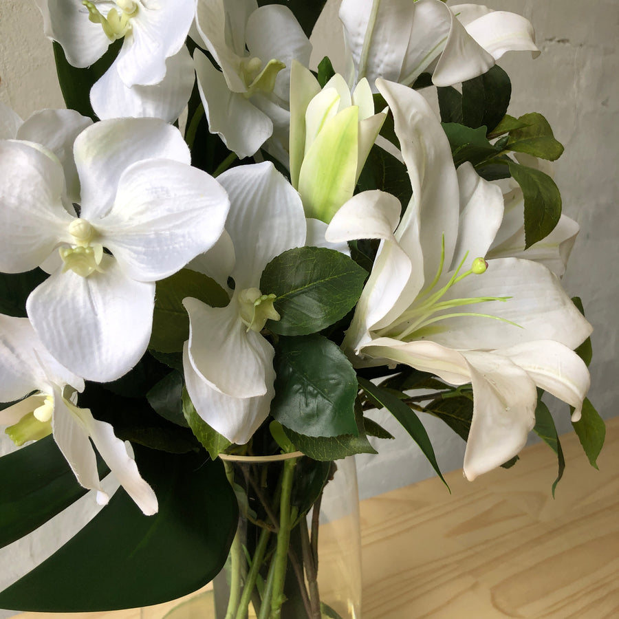 White Orchid & Lily Floral Design - Glass