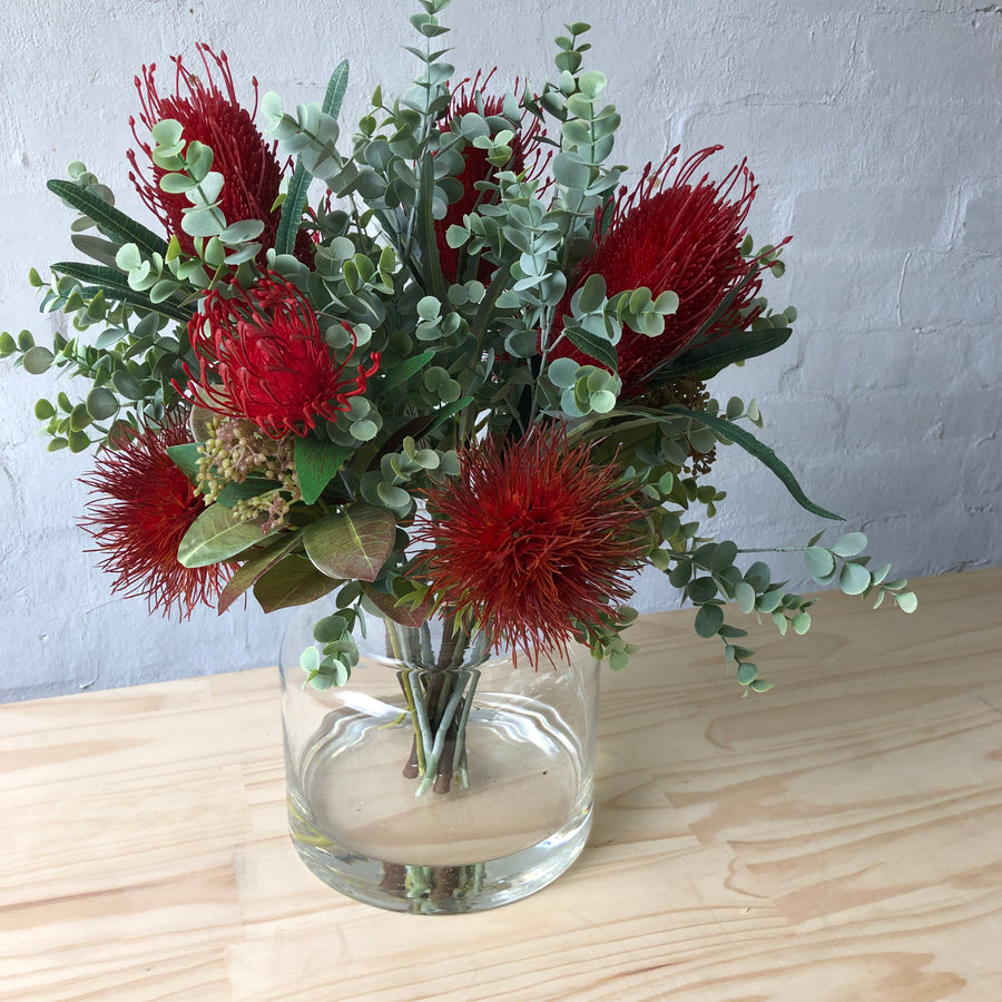 Artificial - Red Natives & Eucalyptus in Glass