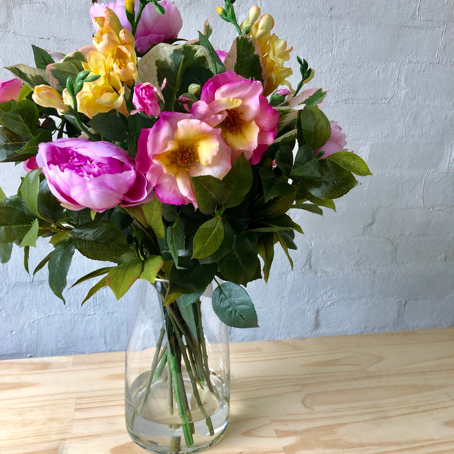 Garden Roses, Peonies & Freesias - Glass