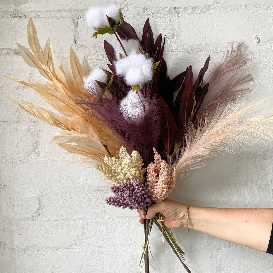 Artificial Styled Bunch - Purples & Pampas