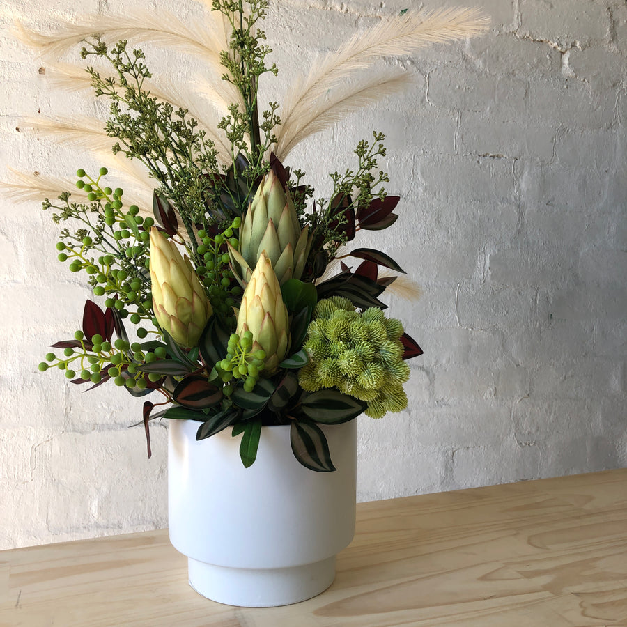 Artificial - White Vase with Natives and Pampas Grass