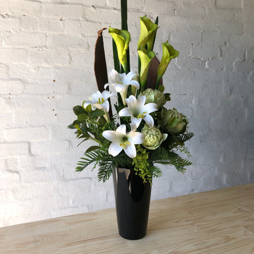 Corporate Stye - White Lillies, White Orchids, Green Leucodendron