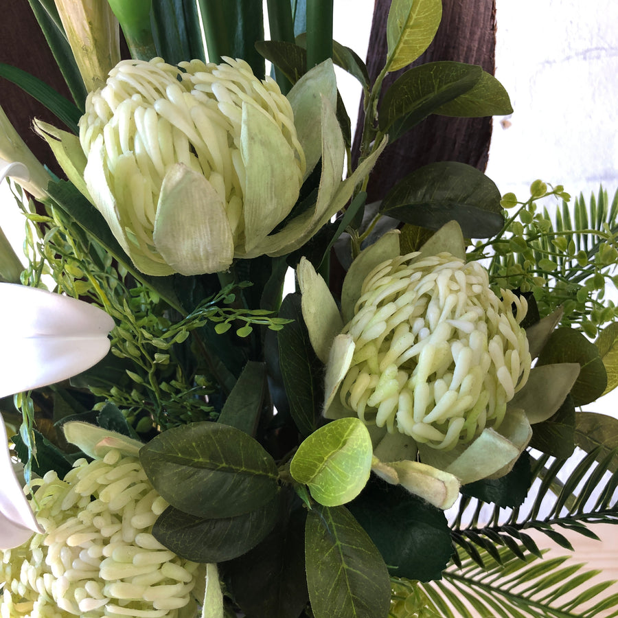 Artificial - White Lillies, White Orchids, Green Leucodendron