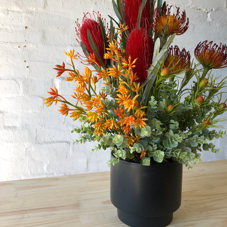 Artificial - Red Banksia, Orange Leucodendron, Gum