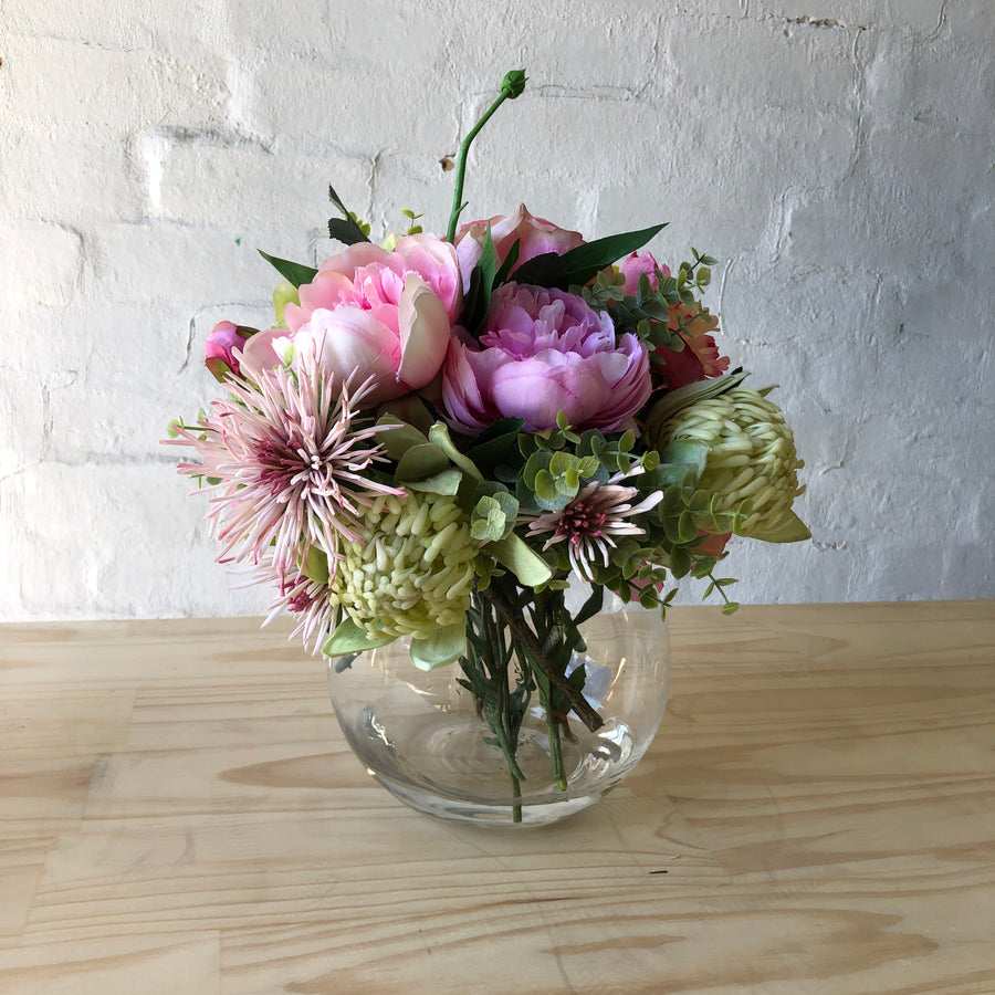 Artificial - Pink & Green Florals in Glass