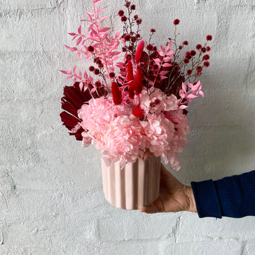 Dried & Preserved Design - Pinks, Reds & Pink Vase