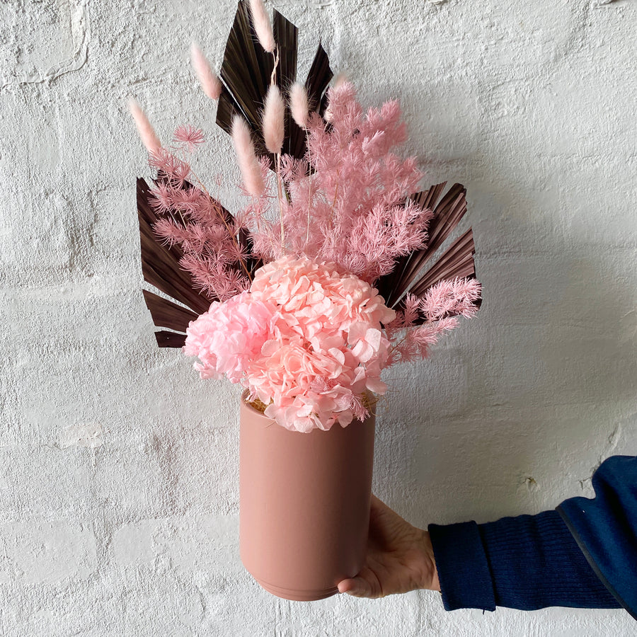 Dried & Preserved Design - Pinks with Pink Vase