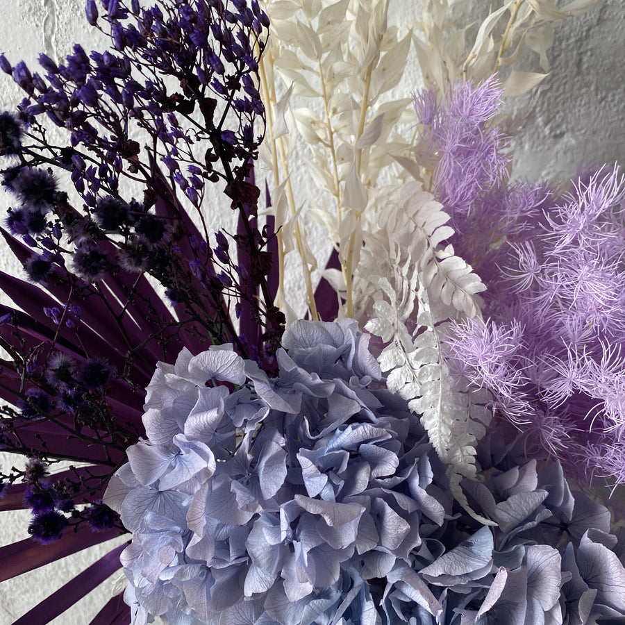 Dried & Preserved Design - Purple Florals & Grey Vase