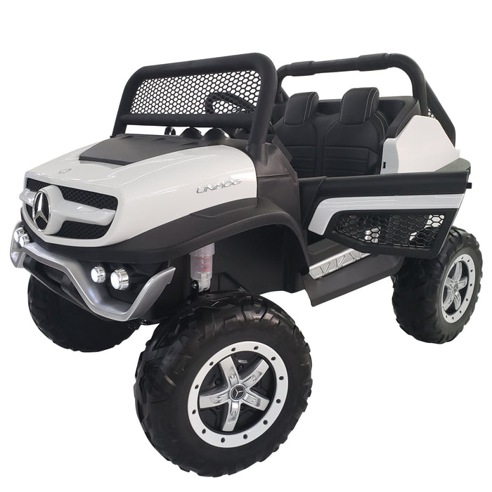 Kids Electric Ride On Mercedes Car MB-unimog-24-white*2 Seats*Rubber Wheels*2 Update Motors- 200 Watts Each