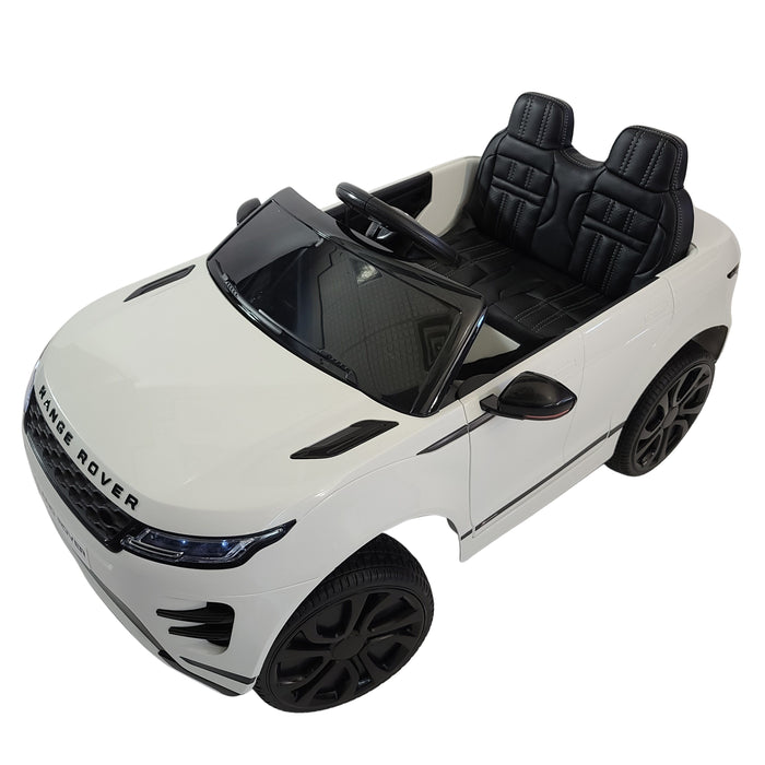Electric Range Rover Evoque DK-RR99 White 12 Volt Ride On Car 1-Leather Seat Rubber Wheels 3 Speed