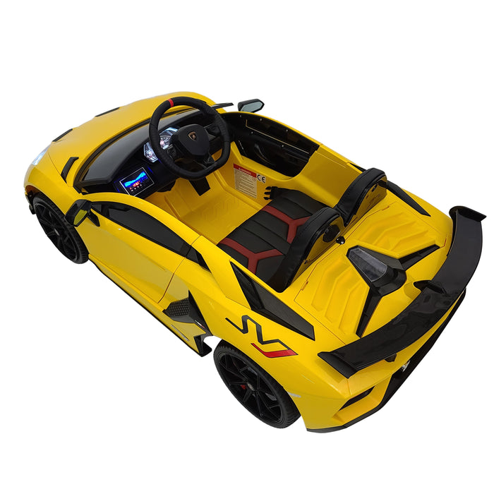 Electric Car Lamborghini Avantador HL328-yellow  12 Volt Rubber Wheels 1 Leather Seat 3 Speed