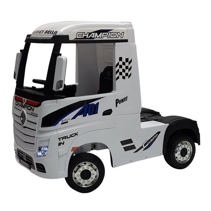 Electric Mercedes Actros HL358 White  12 Volt Kids Ride On Car 1- Leather Seat Rubber Wheels 3 Speed