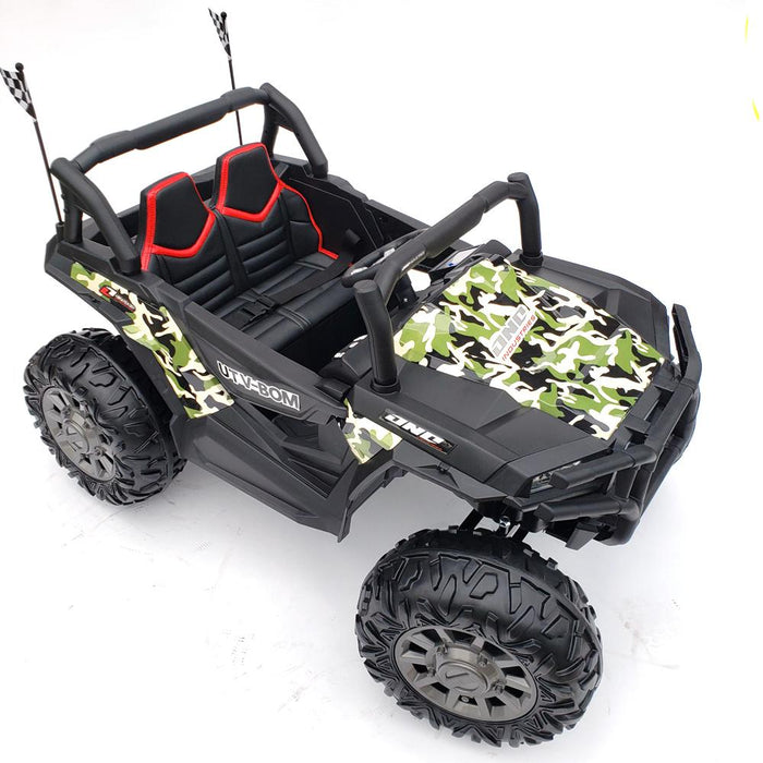 Buggy Ride On Kids Car Army Green MP4 TV*2 Leather Seat 2.4G Remote Control 2 Battery 12V7AH 4 Motors 45 Watts Each