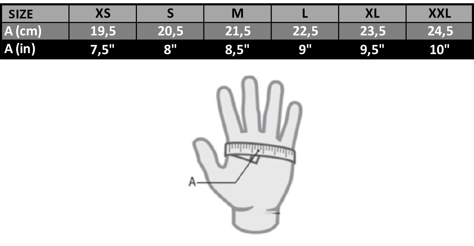 Mares Gloves Size Chart