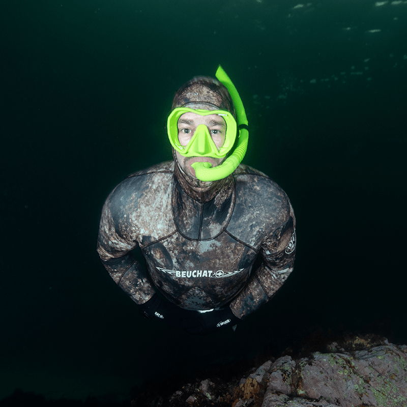 Beuchat Maxlux Mask and Spy Snorkel on Free Diver in Fiordland