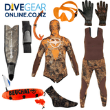 Freediver Ultimate Camo Package - Safety Set - Wide Foot Fibre Glass Fins