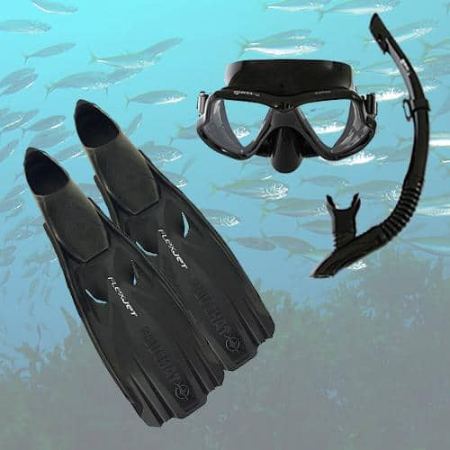 Beuchat Flex Jet Fins, Mares Black Wahoo Mask and Snorkel