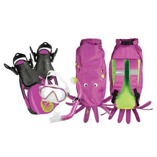 Mask, Snorkel and Fin set with Octopus Backpack