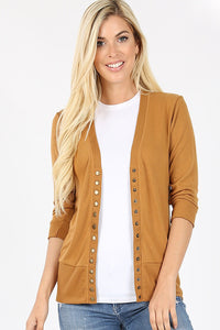 Coffee Button Down Cardigan