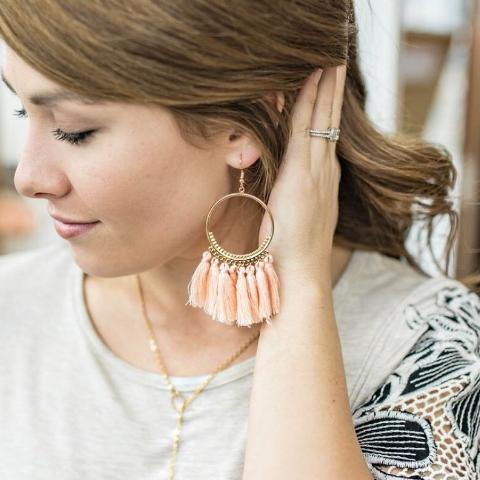 Tassel Hoops Peach or Cream
