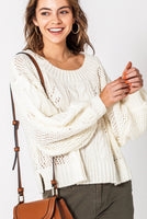 Vanilla Bubble Sleeve Sweater