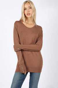 Mocha Sweater With Gold Buttons