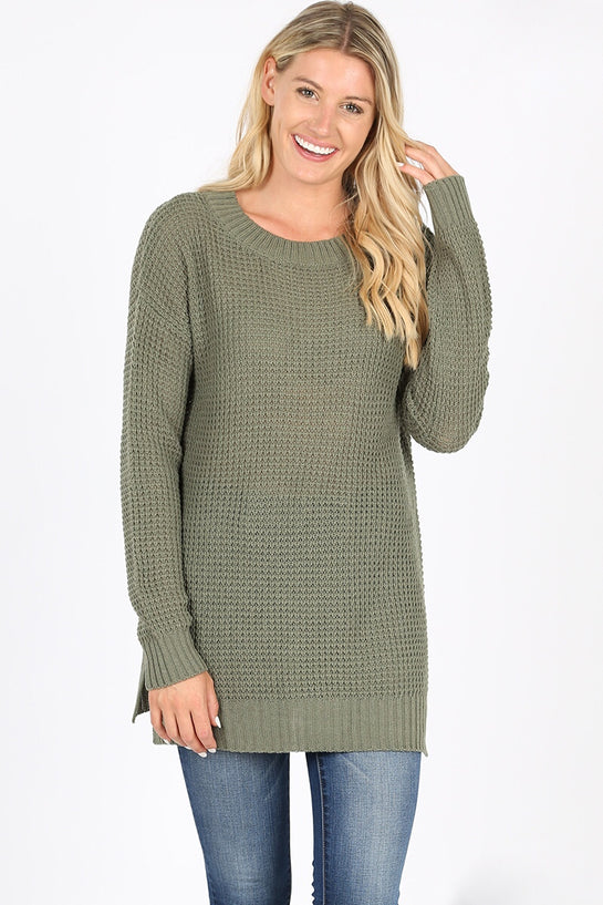 Olive Side Split Knit Sweater