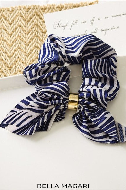 Blue Zebra Print Bow Scrunchie